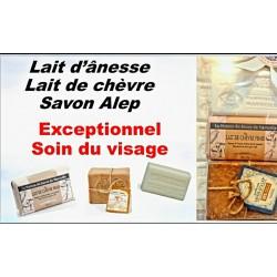 Pack coffret soin du visage Lait d'ânesse, Lait Chèvre , savon Alep 30%
